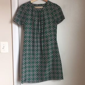 J.Crew green patterned midi dress with open back